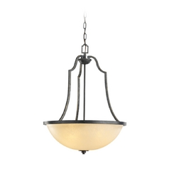 Nautical Pendant Light in Flemish Bronze Finish with Three Lights