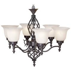 Iron Finish Chandelier with Alabaster Glass Shades