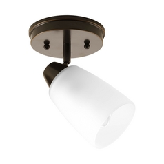 Modern Directional Spot Light with White Glass in Antique Bronze Finish