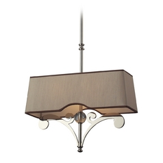 Modern Pendant Light with Brown Shades in Polished Nickel Finish