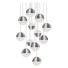 Modern Brushed Nickel LED Multi-Light Pendant with Frosted Shade 3000K 4800LM