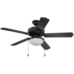 Craftmade 52-Inch Matte Black Outdoor Ceiling Fan with Light