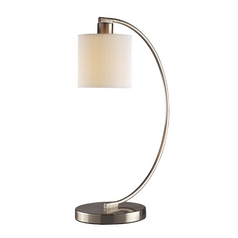 Modern Table Lamp with White Shade in Brushed Nickel Finish