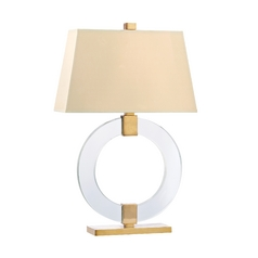 Modern Table Lamp with Beige / Cream Paper Shade in Aged Brass Finish