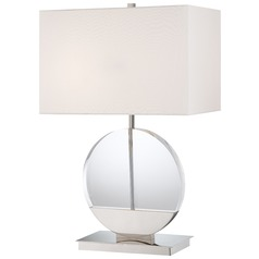 Modern Table Lamp with White Shades in Polished Nickel Finish