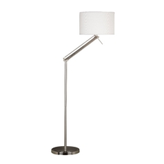 Modern Floor Lamp with White Shade in Brushed Steel Finish