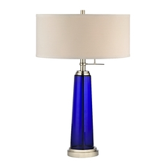 Modern Table Lamp in Satin Nickel/clear Blue Glass Finish