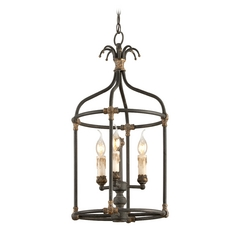 Pendant Light in Distressed Black / Antique Gold Finish