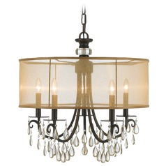 Crystorama Lighting Hampton English Bronze Pendant Light with Drum Shade