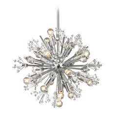 Mid-Century Modern Crystal Pendant Cluster Light Chrome Starburst by Elk Lighting