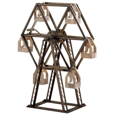 Cyan Design Ferris Wheel Raw Iron & Natural Wood Candle Holder
