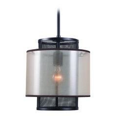 Alessandra Oil Rubbed Bronze Mini-Pendant Light with Drum Shade by Kenroy Home