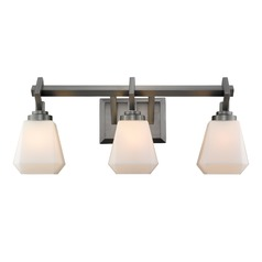 Hollis 3 Light Bath Vanity in Aged Steel with Opal Glass