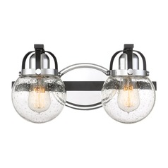 Seeded Glass Bathroom Light Black Piermont by Quoizel Lighting