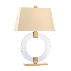 Modern Table Lamp with White Shade in Aged Brass Finish