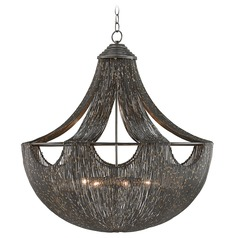 Art Deco Pendant Light Iron Eduardo by Currey and Company Lighting