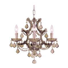Crystal Mini-Chandelier in Antique Brass Finish