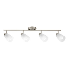 Modern Directional Spot Light with White Glass in Brushed Nickel Finish