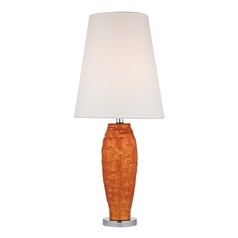 Tangerine Orange Table Lamp with White Shade in Polished Nickel Finish