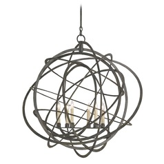 Currey and Company Lighting Genesis Black Iron Chandelier