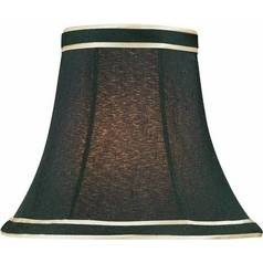 Black W. Gold Trim Bell Lamp Shade with Clip-On Assembly