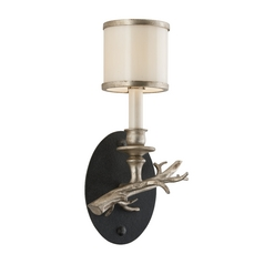 Sconce Wall Light with White Glass in Bronze with Silver Leaf Finish