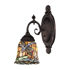 Sconce with Tiffany Glass in Bronze Finish