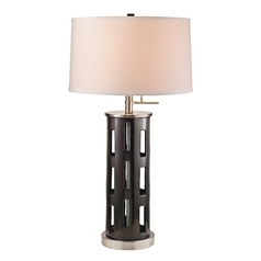 Modern Table Lamp in Satin Nickel/black Onyx Finish