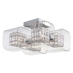 Modern Semi-Flushmount Light with Clear Glass in Chrome Finish