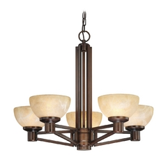Five Light Modern Bronze Chandelier