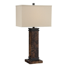 Lite Source Lighting Mauro Dark Bronze Table Lamp with Rectangle Shade