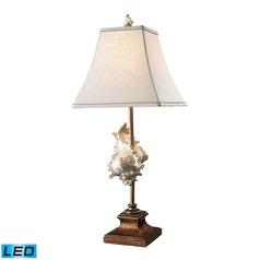 Dimond Lighting Conch Shell, Bronze LED Table Lamp with Square Shade