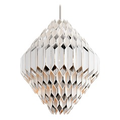 Corbett Lighting Haiku White with Polished Stainless Pendant Light