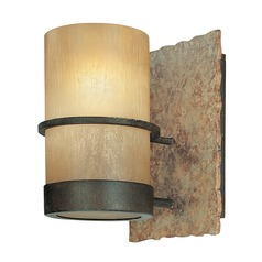 Sconce Wall Light with Beige / Cream Glass in Bamboo Bronze Finish