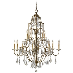 Crystal Chandelier in Oxidized Bronze Finish