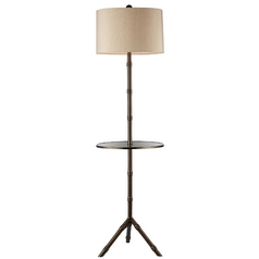 Modern Floor Lamp with Beige / Cream Shade in Dunbrook Finish