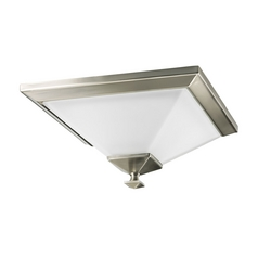 Progress Flushmount Light with White Glass in Brushed Nickel Finish