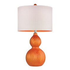 LED Table Lamp with White Shade in Tangerine Orange Finish