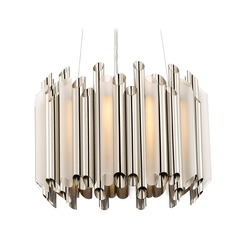 Quoizel Lighting Platinum Pipeline Polished Nickel Pendant Light with Drum Shade