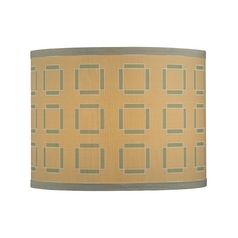 Tan Drum Lamp Shade with Turquoise Cubic Pattern - Spider Assembly