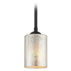 Black Mini-Pendant Light Mercury Glass Cylindrical Craftmade Lighting