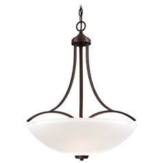 Minka Overland Park Vintage Bronze Pendant Light with Bowl / Dome Shade