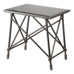 Uttermost Collier Black Glass End Table