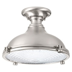 Farmhouse LED Semi-Flushmount Light Brushed Nickel Fresnel Lens by Progress Lighting