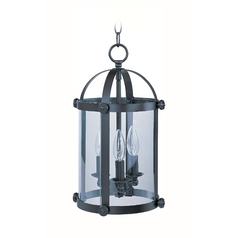 Drum Mini-Pendant Light with Clear Glass in Bronze Finish