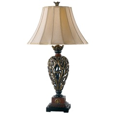 Table Lamp with Gold Shade in Golden Ruby Finish