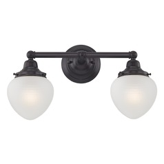 Prismatic Glass Schoolhouse Bathroom Light Bronze 2 Light 16 Inch Length