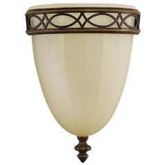 Sconce Wall Light with Beige / Cream Glass in Walnut Finish