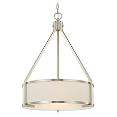 Camden Satin Nickel Pendant Light with Drum Shade