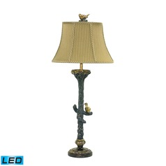 Dimond Lighting Gold Leaf, Black LED Table Lamp with Bell Shade